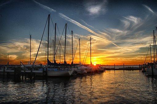 Sail, Boat, Nautical, Water, Marine, Sunset, Boating