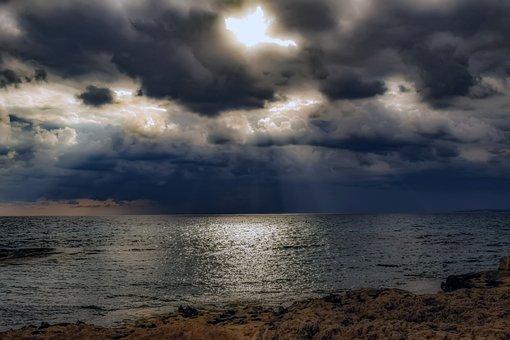 Rocky Coast, Sea, Stormy Weather, Sky, Clouds, Scenery
