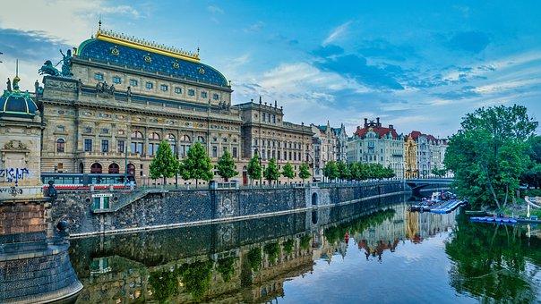 Prague, The National Theatre, City, Vltava, Sky, House