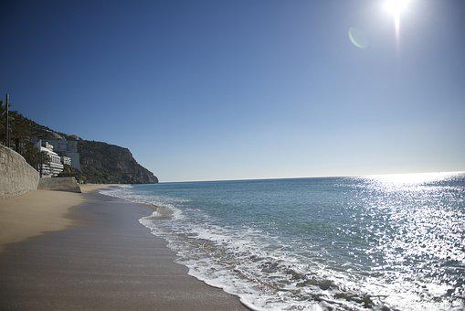 Portugal, Sesimbra, Beach, Sun, Sunshine, Sand, Waves
