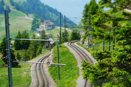 Rails, Mountains, Miniature Effect, Switzerland, Rigi