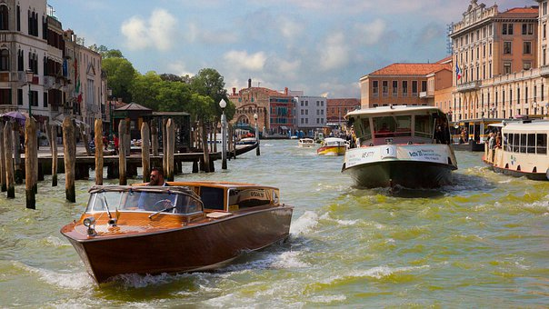 Channel, Venice, Italy, Water, Building, Architecture