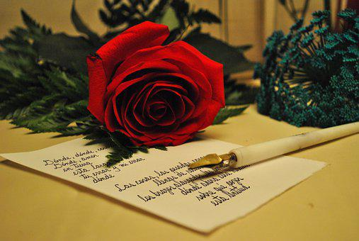 Rose, Letter, Romantic, Victorian, Love, Vintage
