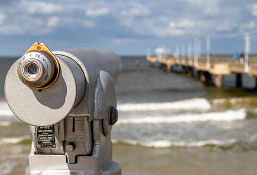 Binoculars, Telescope, Watch, Beach, Web, Water, Sea
