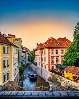 Prague, Boat, River, Vltava, Bridge, City, Water, Czech