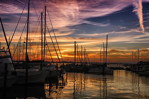 Boats, Water, Sea, Summer, Sky, Sunset, Nature, Scenic