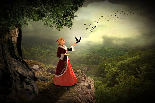 Woman, Human, Hill, Tree, Nature, Sky, Birds, Animals