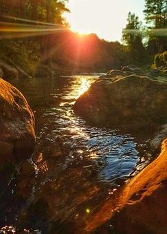 Bach, Water, Sun, Sunset, Backlighting, River, Idyll