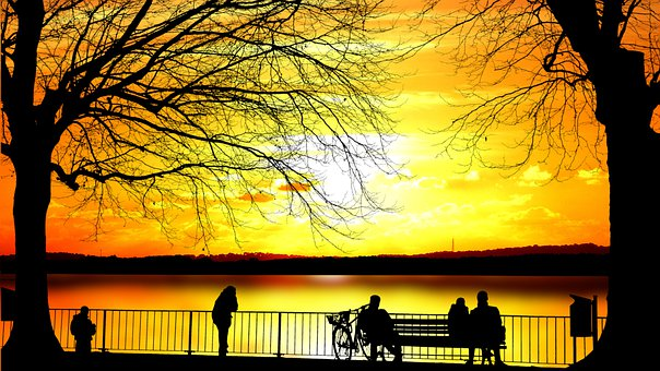Sunset, Lake, Bench, People, Landscape, Nature, Water