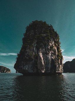 Limestone Rock, Ocean, Blue Sky, Asia, Mountain