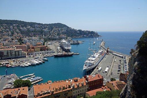 Port, Boats, Yacht, Nice, Beach, Mediterranean Sea