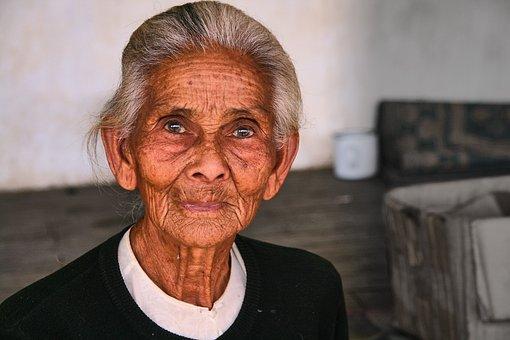 Woman, Old, Fold, Eyes, Skin, Myanmar, Portrait, Senior