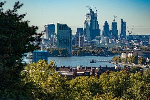 London, Skyline, Greenwich, River, Gherkin