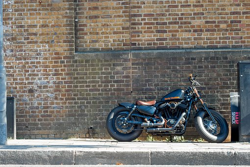 Harley Davidson, Camden, London, Pavement, Road