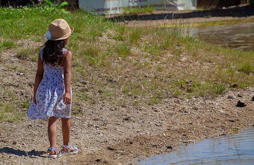 Child On Pond Shore, Child In Hat, Child, Hat