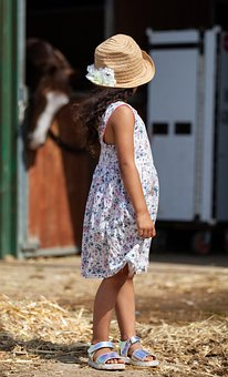 Child In Stable, Horse, Child In Hat, Child, Hat