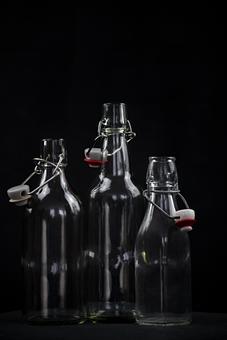Glass, Bottle, Arranged, Iron Lock, Bottles