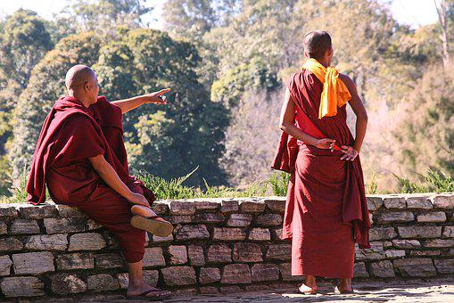 Myanmar, Monks, Show, Point, Buddhism, Monk, Asia, Wall