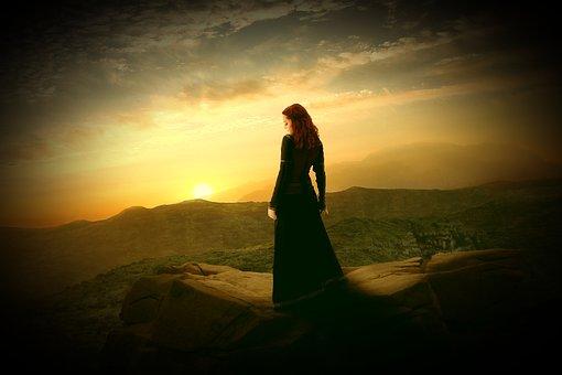 Woman, Human, Young, Sensual, Longing, Rock, Mountains