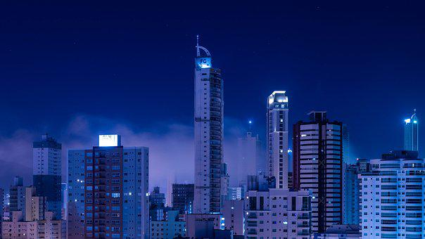 City, Fog, Blue, Night, Architecture, Sky, Building