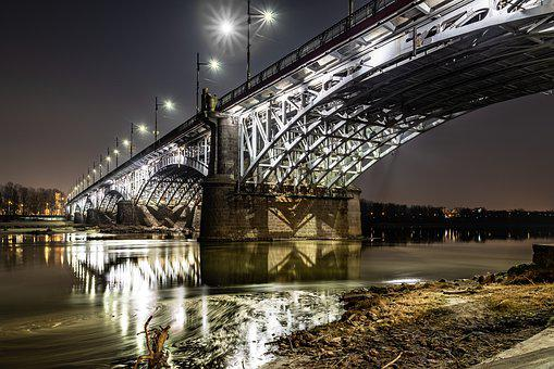 The Poniatowski Bridge, Warsaw, Wisla, River, Night