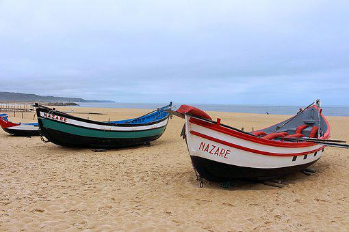 Nazare, Portugal, West Coast, Boats, Fishing, Sand