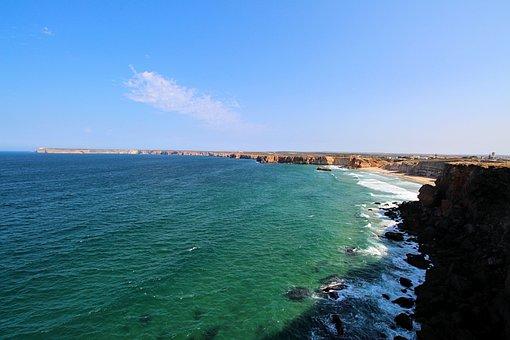 Portugal, Sagres, Rock, Sea, Nature