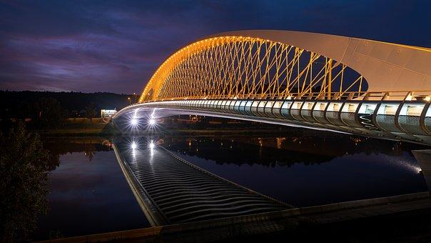 Prague, Bridge, Night, River, Water, Architecture
