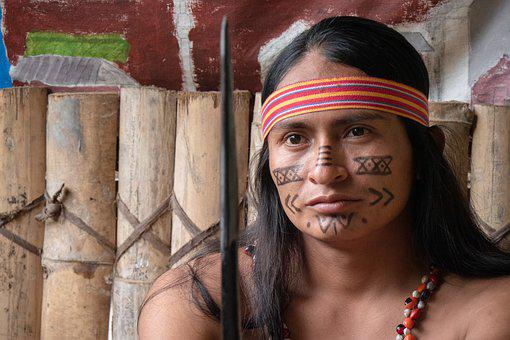 Ecuador, Shuar, Man, Warrior, Bemahlung, Face, View