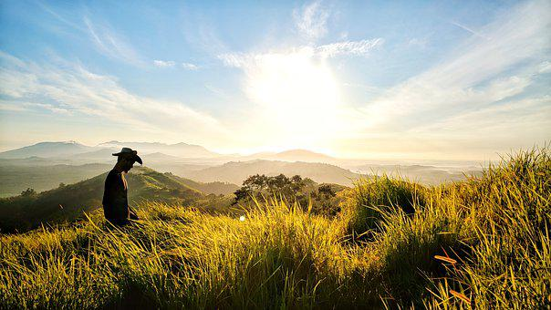 Nature, Grass, Sky, Clouds, Sunrise, Mountain, Hill