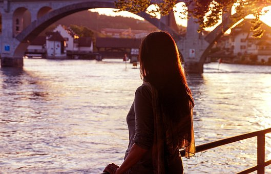 Evening, Sunset, Abendstimmung, Landscape, Woman