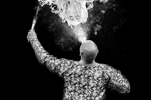 Circus, The Fire-breathing, Fire, Black And White