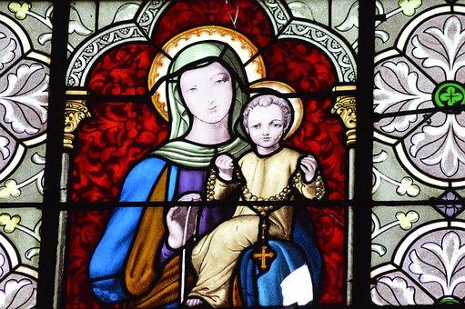 Stained Glass, Mary, Jesus, Church, Faith, Window