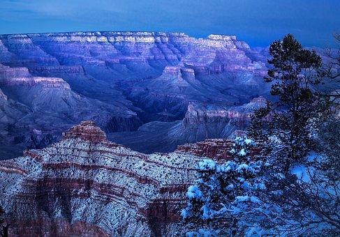 Grand Canyon, Winter, Arizona, Nature, Snow, Outdoors