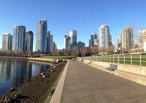 Vancouver, Skyline, Water, Architecture, Cityscape