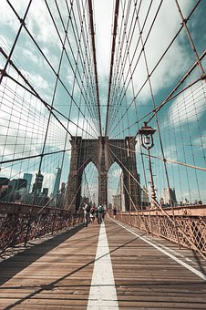 New York, Usa, Brooklyn Bridge, Moody, Beautiful Sky