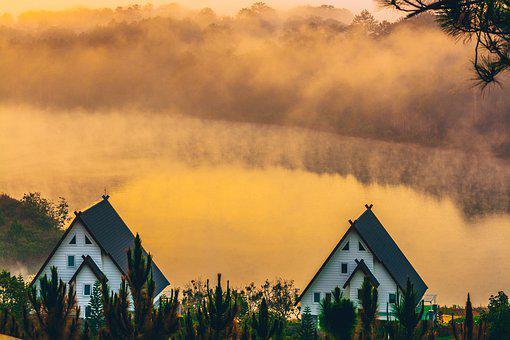Dalat, House, Lake, Morning, Landscape