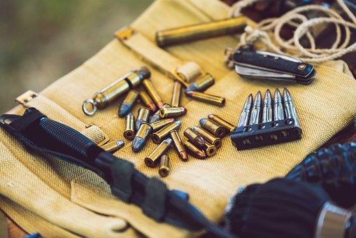 Bullets, Closeup, Knife, World War Two, Ammunition