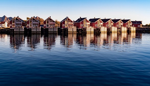 Rorbu, Lofoten, Northern Norway, Scenery, Scandinavia