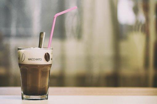 Latte Macchiato, Coffee, Glass, Milchschaum, Drink