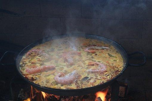 Paella, Fideua, Cooking, Fire, Wood, Food