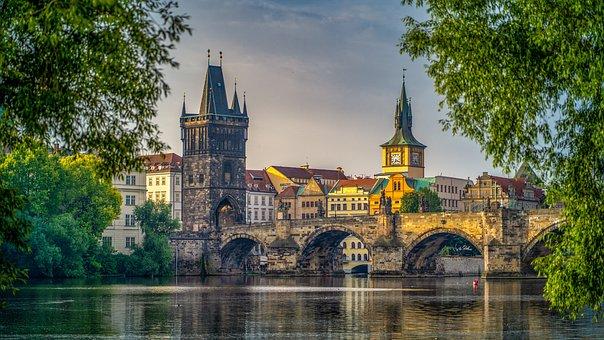 Prague, Bridge, City, Architecture, River, Buildings