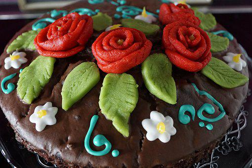 Cake, Delicious, Roses, Decoration, Eat, Chocolate