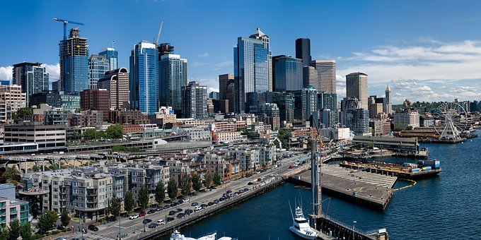 Seattle, Skyline, Water, Bay, Urban, City, Buildings