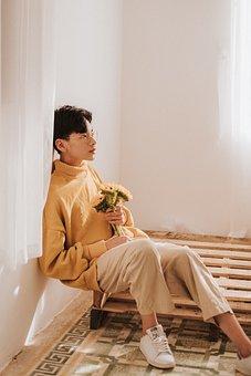 Boy, Flower, Indoor, Sunny, Room