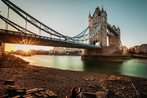 Tower Bridge, Sunset, U, London, Bridge, Architecture