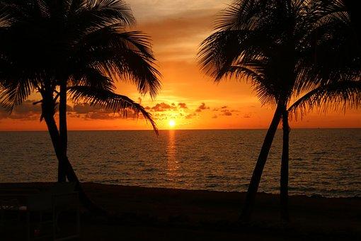 Sol, Sunset, Landscape, Nature, Summer, Ocean, Beach