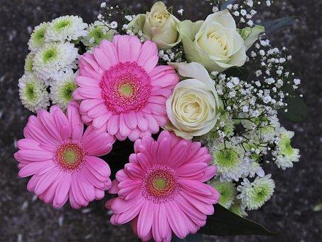 Pink, Gerberas, Roses, A Postcard, Bouquet, Rose