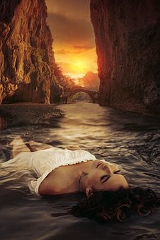 Fantasy, Dark, Gothic, Bridge, Canyon, River, Sky, Sun