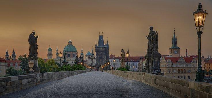Prague, Twilight, Sunset, Charles Bridge